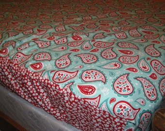 Fitted Bed Sheet - size Short Queen or RV Queen  - you provide fabric - custom - made to order - by Happy Campers of the South