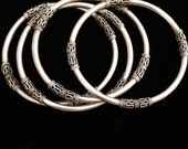 Set of Four Boho Chic Sterling Silver Bangles Bracelets