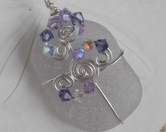 Sea Glass Necklace - Wrapped Sea Glass Beachglass Necklace - Lavender Sea Glass Pendant