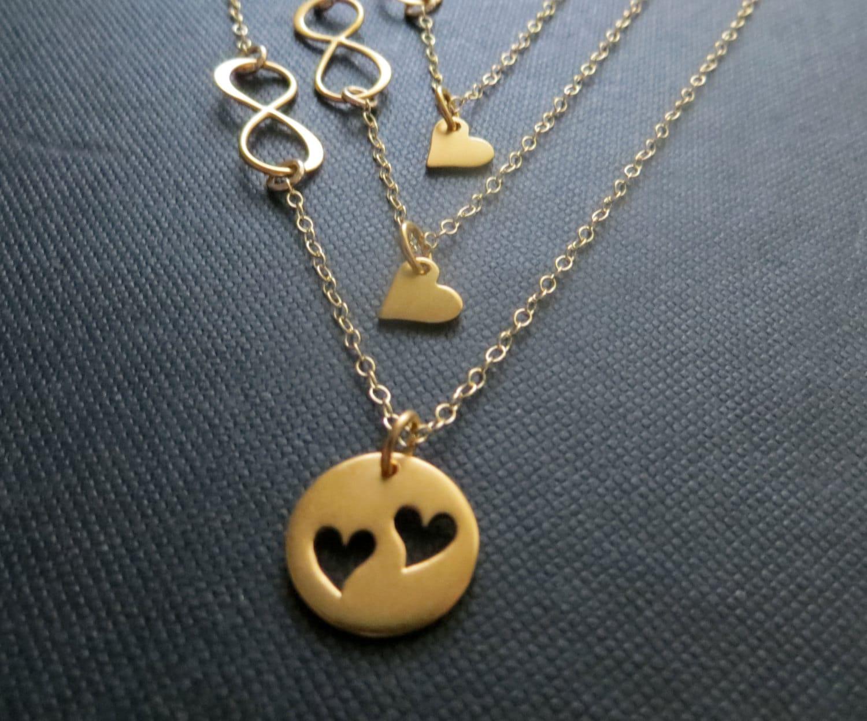 Mother Daughter Infinity Necklace 24k Vermeil Gold Heart