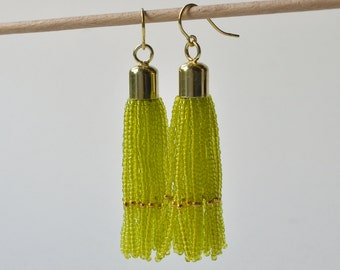 Tassel earrings gold filled  lime green glass beads