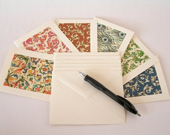 Collection of six different Italian pattered note cards with six  ivory envelopes - Ready to ship