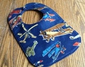 Reversible Baby Bib, Vintage Air Show, Navy Blue, Triple Layer, Snap Closure