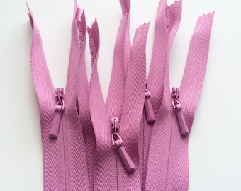 INVISIBLE Zippers- YKK Color 289 Fuchsia- 5 Pieces- Currently available in 9, 16, or 24 Inch