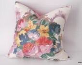 English cottage pillow floral  cover ...cottage chic  farmhouse vintage fabric pillow