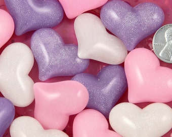 31mm Chunky Pastel Shimmer Heart Flatback Resin Cabochons - Pink, Purple and White - 6 pc set