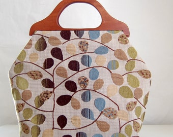 Bayberry Blue Large Craft Project Tote/ Knitting Tote Bag - READY TO SHIP