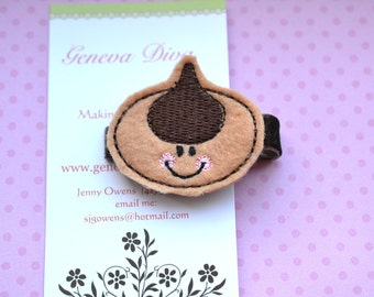 Chocolate Kiss Cookie Embroidered Felt Hairclip