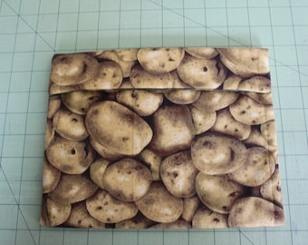 """Microwave potato Bag -approximately 9"""" x 7""""  Cotton and microwave safe lining."""