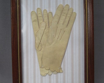 Antique Doll Size Kid Leather Gloves in Frame - Made in Italy for Centemeri - Early 1900s