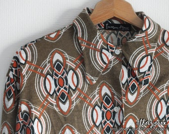 Vintage 70s Geometric Kaleidoscope Long Sleeves Shirt - Psychedelic Brown Khaki Print Blouse - Womens Fashion Unisex Retro Clothing