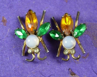 Vintage bug Coro brooch Set of TWO Signed pegasus whimsical Insect fly rhinestone Pins duette