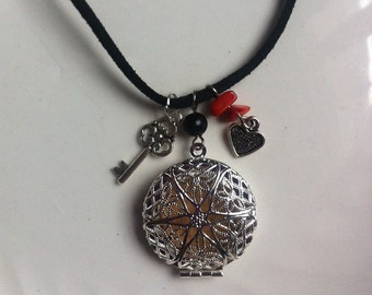 Essential Oil Diffuser Locket Leather Necklace with Key Heart or CUSTOM Charm