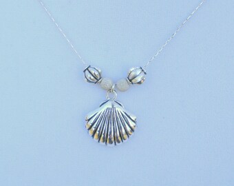 Scallop Shell Necklace , silver-plated, contemporary design, nautical jewelry