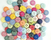 50 x Mixed Craft Buttons, Polka Dot Buttons, Gingham Buttons, Stripy Buttons, Assorted Button Pack, 1cm Buttons, Button Pack