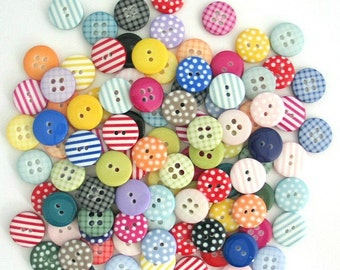 50 x Mixed Craft Buttons, Polka Dot Buttons, Gingham Buttons, Stripy Buttons, Assorted Button Pack, Plaid Buttons, Button Pack