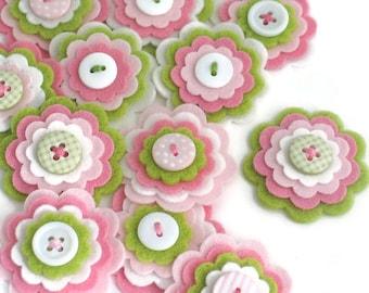 SWEETPEA  x 3 Handmade Felt Flowers, Felt Embellishments, Flower Appliques, Felt Blooms, Wedding Flowers, Hair Clippie Flowers, Kids Crafts