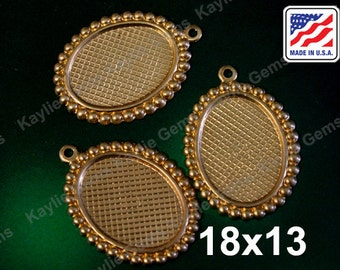 18x13mm Beaded Edge Setting Base Pendant Charm Cameo Cabochon Cab Glue On Made in the USA- 4pcs
