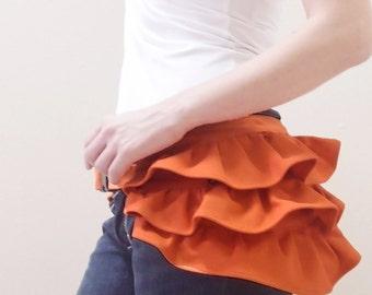 Back To School SALE - 20% OFF Gathered Waist Purse in Orange / Fanny Pack / Hip Bag / Pouch / Waist Belt / Women / Hers / Gift Ideas