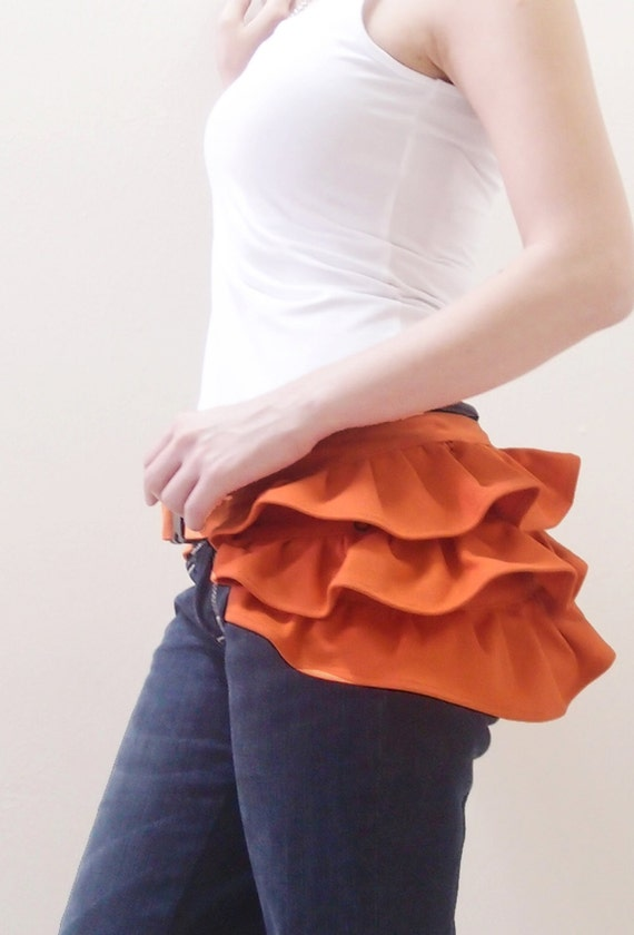 Back To School SALE - 20% OFF Gathered Waist Purse in Orange / Fanny Pack / Hip Bag / Pouch / Waist Belt / Women / Hers / Gift Ideas