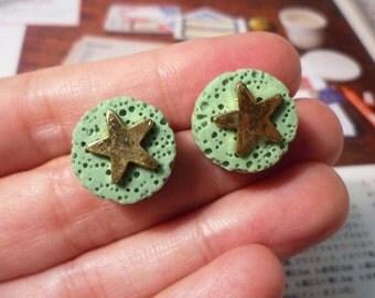 LAST PAIR - SALE - Round Sponge with Star Stud Earrings