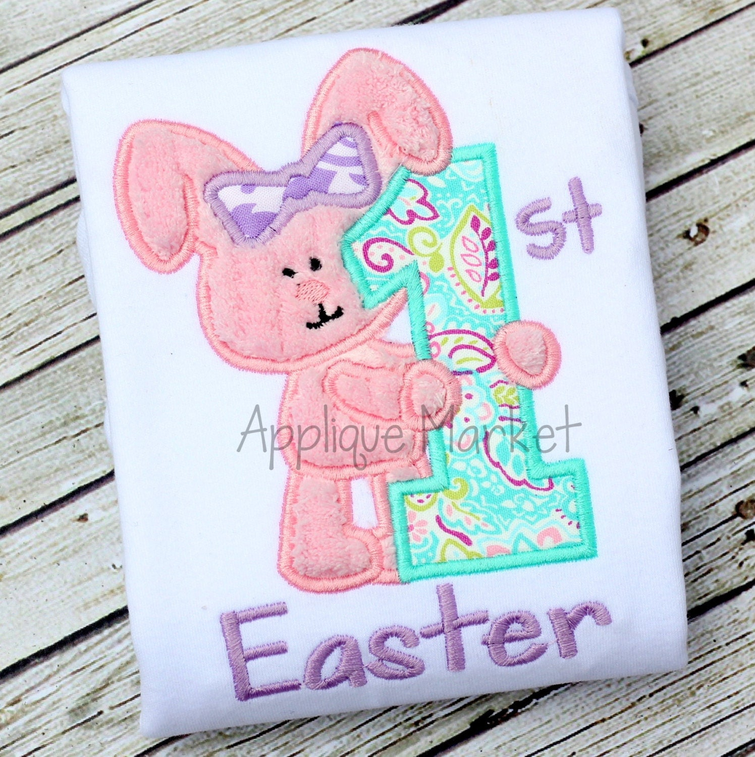 Machine embroidery design applique my first easter girl