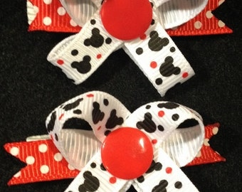 Mickey Mouse Head Snap N Go Dog Hair Bow - Set of TWO bows