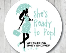 Ready to Pop Pregnant Lady with Umbrella . Personalized Boy Baby Shower Stickers, Popcorn Box Labels or Tags