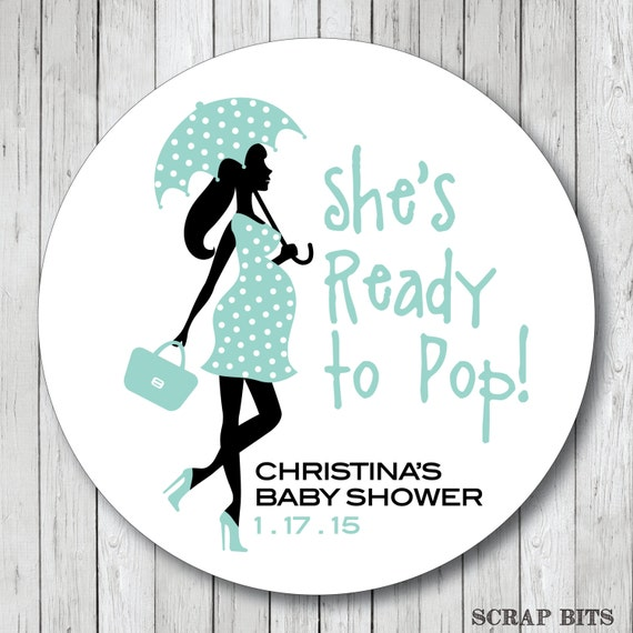 ready to pop pregnant lady with umbrella   by scrapbits on