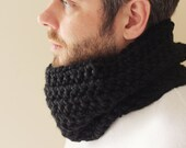 Unisex Crochet Wool Circle Scarf/Cowl in Black - READY TO SHIP