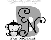 CUSTOMIZABLE Monogram Photography Template - LITTLE MONKEY - Photoshop .psd Template for Photographers and Scrapbookers.