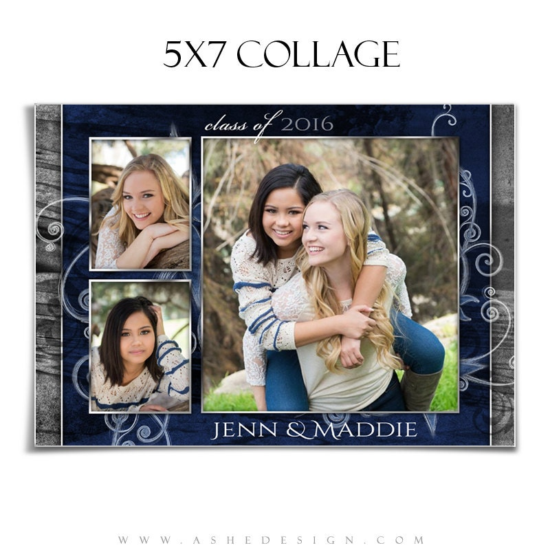 senior photo collage templates - senior girl collage for photographers scrap bookers blue