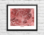 Raleigh North Carolina Art Map Print.  Color Options and Size Options Available.  Perfect for your North Carolina State Grad.