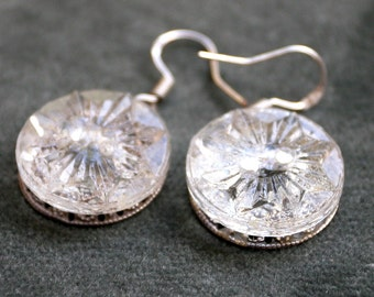Button Earrings - Clear Faceted Glass Button Sterling Silver Ear Wires