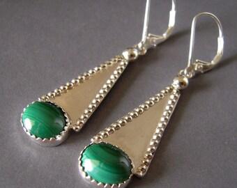 Malachite Earrings, Argentium Silver Hand Forged Earrings, Hand Made Earrings, Sterling Silver Gemstone Dangle Earrings