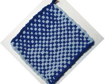 Blue on Blue Hand Woven Large Cotton Potholder No.10