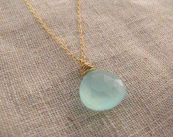 Aqua Blue Chalcedony and Gold Solitaire Necklace
