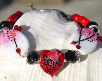 I LOVE YOU-Handmade Lampwork and Sterling Silver Bracelet