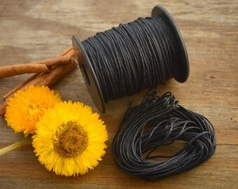 Black: Braided, Cotton Cord 1mm, 25ft (8.33 yards) / Blackl thread / Perfect for Shamballa, DIY Supplies, Cotton Twine, Supplies