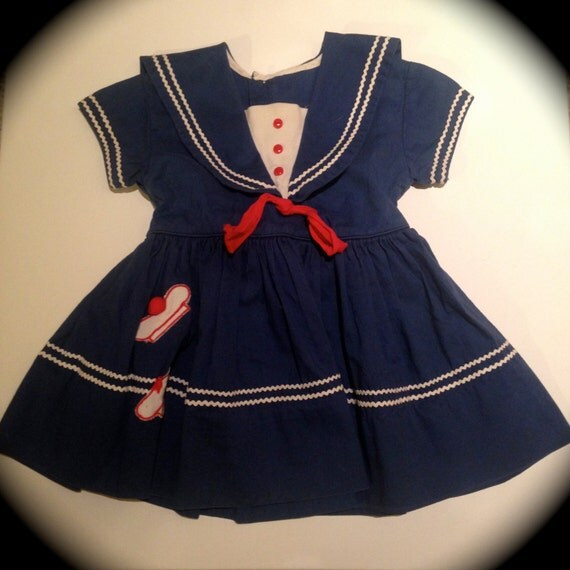 Baby Girls Navy Blue Sailor Dress Vintage by