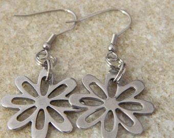 Stainless Steel Daisy Dangle Earrings