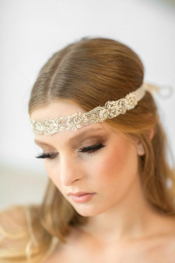 Bridal Ribbon Headband Bridal Beaded Headband Luxe Satin