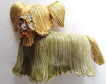 VINTAGE Dog - YORKSHIRE TERRIER Enameled Brooch with Rhinestones