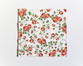 Small Roses Napkin, Paper Napkin for Decoupage, Craft Napkin, Scrapbooking Napkin, Decoupage Paper Tissue