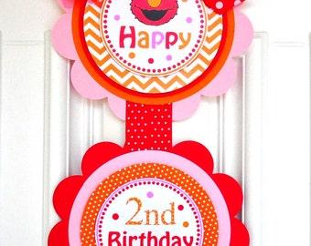 Elmo Door Sign, Elmo Vertical Door Sign, Girl Elmo Birthday Party, XL Elmo Vertical Door Banner in Red, Orange and Pink