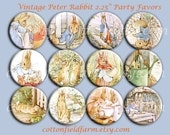 Little Peter Rabbit 2.25 Inch Party Favors Pin Back Buttons, Mirrors, or Magnets,  Set of 12,  Plus Free Digital Sheet