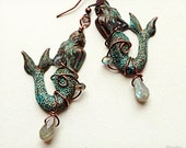 Beautiful mermaid earrings, wire wrapped with labradorite gemstones