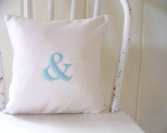 free shipping / ampersand pillow / & / embroidered / personalized pillow / initial pillow / monogram / wedding / engagement / anniversary
