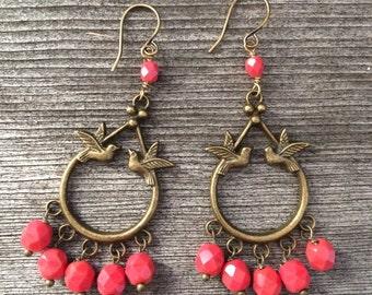 Love bird earrings in red