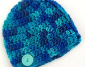 Newborn boy 0-3 months baby hat blue teal navy beanie infant hat baby photo prop Ready To Ship